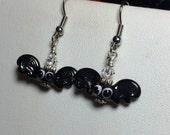 RESERVED FOR COLLEEN Spooky little bats earrings - handmade lampwork earrings halloween jewelry