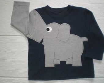 Elephant t-shirt, long sleeve waffle weave, elephant shirt, elephant trunk sleeve shirt, infant size 18 months, crewneck navy blue