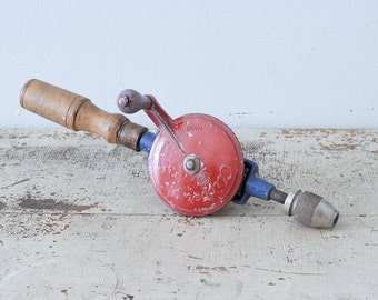 Vintage Clipper Fleetway Hand Drill - Red and Blue - Made in England