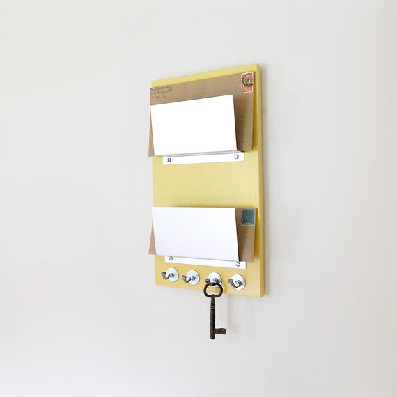 SUNFLOWER: modern yellow wall mount double mail holder organizer key rack entry home office organization