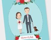 8x10 Bride & Groom Wedding Illustration, Wedding Portrait, Wedding Guestbook, Wedding Anniversary Gift, Wedding Poster, Wedding Program