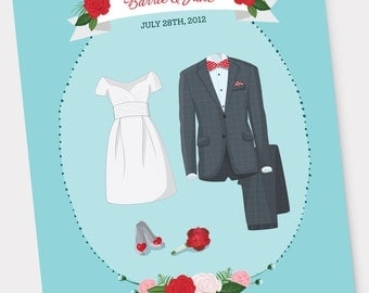 Bride & Groom Custom Wedding Illustration  - Wedding Attire, Wedding Dress and Suit, Wedding Anniversary Gift, Wedding Invitation