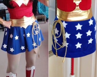 New  Wonder Woman Costume with skirt custom made size XS-M