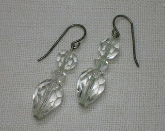 Cut Crystal Earrings, Glass. Gorgeous & Sparkly Dangles. Art Deco Style