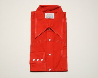 mens vintage dress shirt 60s 70s Bud Burma vintage permanent press deadstock 1960 1970 vintage menswear red dress shirt XL extra large