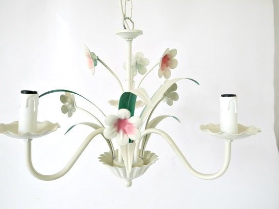French vintage tole metal white and pink floral chandelier-pendant-lighting-chic-country