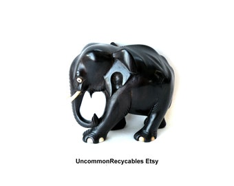 Elephant- Carved Ebony Wood  Collectibles- African Art- Hand Made Statue- Wood Carving- 1890c- Ornamental- Accents- Tribal-