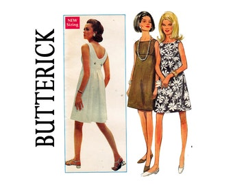 1960s High waisted Cocktail Dress Bust 32 Size 12 A-line Sleeveless back interest Size 8 Bust 31 1/2 UNCUT Sewing Pattern Butterick 4820 60s