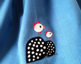 Guinea Fowl embroidered heavy cotton towel