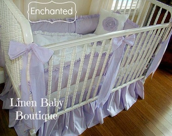 Lavender Baby Bedding 5 Pieces. Crib Bedding. All 5 Pieces. Skirt, Bumpers, Blanket, Pillow, 3 Decorative Bows. Enchanted!