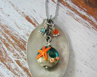 Vintage Upcycled Spoon Pendant In Ocean Colors with Lampwork Beads Bohemian necklace Boho Jewelry Starfish necklace