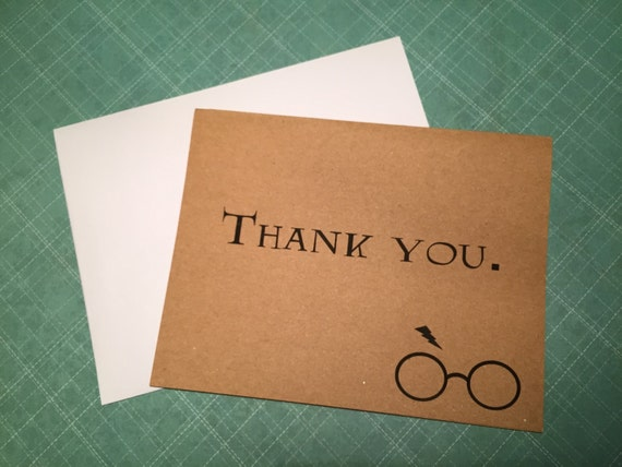 Harry Potter Inspired thank you note greeting cards blank mailable ...