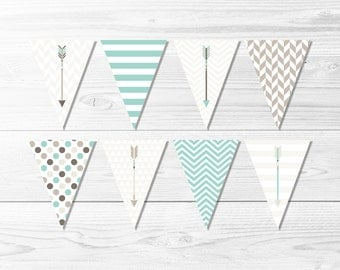 Aqua & Tan Arrows Banner -- Tribal Banner, Turquoise, Brown, Taupe, Beige, Cream, Geometric, Chevron, Polka Dot, Printable, Instant Download