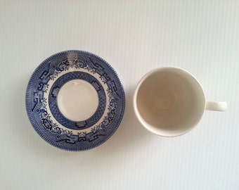 willow vintage blue and white cup and saucer set vintage earthenware. cottage chic decor signed Made in England willow blue cup and saucer