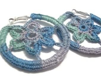 Crochet Hoop Earrings, Hoop Earrings, Flower Motif in Sea Colors, 50mm Hoop Earrings, Silver Plated, Summer Earrings, Boho, Hippie Earrings