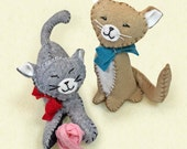 Cats Sewing Kit, Felt Cat Ornaments, Beige Cat, Grey Cat, Felt Animal Craft Kit, DIY Sewing, Beginner Sewing Kit 'Purrfect Pals' Heidi Boyd