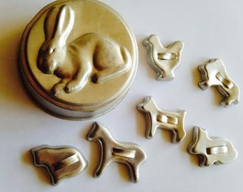 Vintage Set of Six Mini Animal Cookie Cutters and Rabbit Pastry Tin