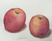 Apples, Original watercolor painting