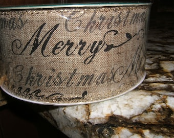 50 Yards Wired Christmas Script Ribbon 2.5 Inches Wide