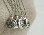 Antique Silver Bridesmaid Locket - Bridesmaid Gift - Vintage Wedding - Pearl Necklace - Long Locket - Personalized Locket - Antique Silver