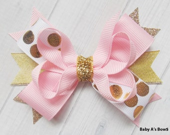Pink and Gold Glitter Polka Dot Multi Layer Boutique Bow - Pink and Gold Party, Birthday Bow, Shabby Chic