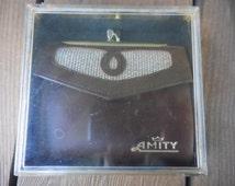 Vintage Amity NIB Cowhide Leather/Tweed Fabric Brown Bifold Women's Wallet NOS Kiss Lock 1960s to 1970s