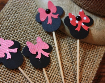 24 Minnie Cupcake Toppers/Birthday Party
