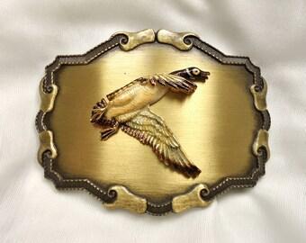 Canadian Goose in Flight: Vintage Raintree Western-Style Brass Belt Buckle
