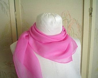 Rose Pink Silk Scarf Vintage Silk Chiffon Square