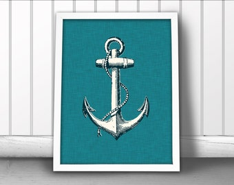 Nautical Anchor Art Print, Linen Textured Nautical Art Print, Ship Anchor Art Print, Nautical Ocean Art Print, Nautical Art Anchor Poster
