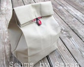 LARGE-  Khaki Cloth lunch bag with Handle   // Re-useable lunch sack // washable lunch bag