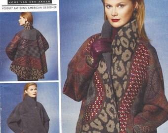 Koos Van Den Akker Womens Reversible Jacket Vogue Sewing Pattern V1277 Size 16 18 20 22 24 26 Bust 38 to 48 UnCut Vogue American Designer
