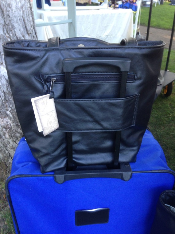 Leather Tote Bag With Trolley Sleeve Carry On Bag With