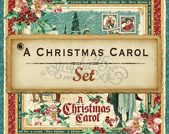 """Graphic 45's """"A Christmas Carol"""" Collection 12x12 Set Papers"""