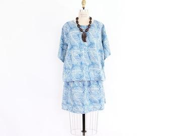 80s Batik Hawaiian Dress, New Wave Blue Fern Print Drop Waist Mini Skirt Slouchy Oversized Tropical Floral Print Boho Hippie Hawaii Tunic