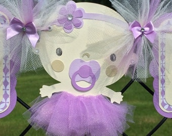 Tutu baby shower banner, baby with tutu banner, lavender and ivory, its a girl banner, photo prop