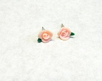 Pink Flower Earrings Post