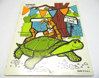 Playskool Wood Puzzle 290-01 Tortoise And The Hare Wood Frame Tray