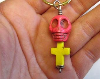 Day Of The Dead Keychain Keyring Sugar Skull Pink Cross
