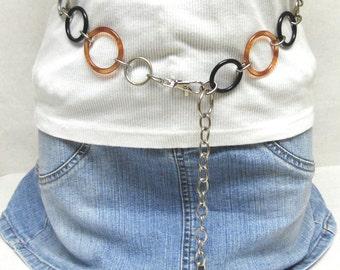 Silver Chain Belt Black Copper Brown