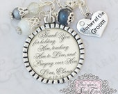 Mother of the Groom Gift - Personalized Inspirational Quote Necklace - Bridal Party Gift - Gifts from Bride - Jewelry Elegant Cream Necklace