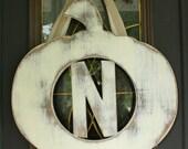 Pumpkin monogram Door Hanger Fall wedding decor-CHOOSE LETTER