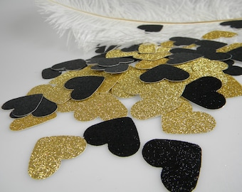 Confetti Gold and Black Glitter Hearts | 30th 40th 50th Birthday Party Decorations | Bachelorette Party Table Scatter | Gold Party Decor