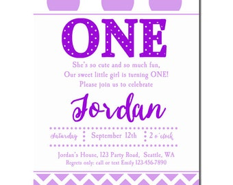 Purple Chevron Lavender Invitation Printable or Printed with FREE SHIPPING -  Any Wording - Purple Love Collection