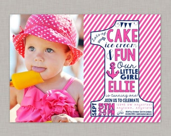 Nautical Birthday Invitation, Nautical First Birthday Invitation, Nautical Invitation