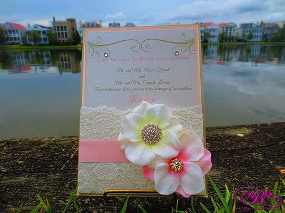 Flower, Brooch & Lace Pocket Wedding Invitation - Blush and Gold