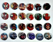 Buy 5 Get 1 FREE--Comic Pin Back Buttons Featuring Spiderman Spidergirl Spiderwoman Green Goblin Black Cat Mary Jane