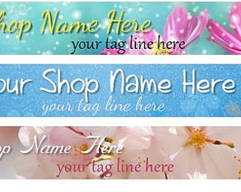 Large Etsy Facebook Cover Photo Ready Made Premade  Green Blue Pastel Flower Leaf Eco-Friendly  Flower Banner and Avatar - You Pick One