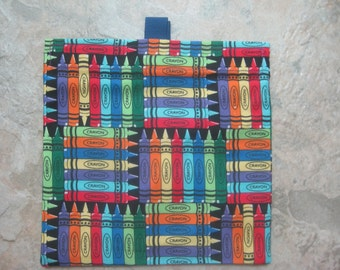 Crayons Reusable Sandwich Bag, Reusable Snack Bag, Makeup Bag, Change Purse with easy open tabs