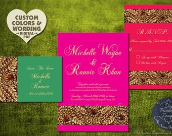 Indian Wedding Invitation Set Gold ZARI PRINTABLE Pdf Order Prints Template Kit Card 2016 Asian Pakistani Hindu Muslim Boho Traditional New
